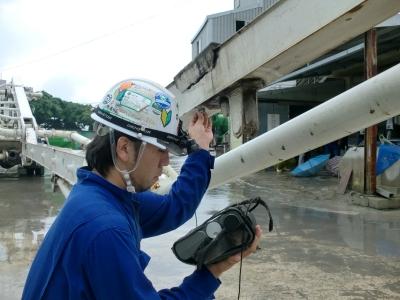 コンクリートポンプ車の超音波探傷検査